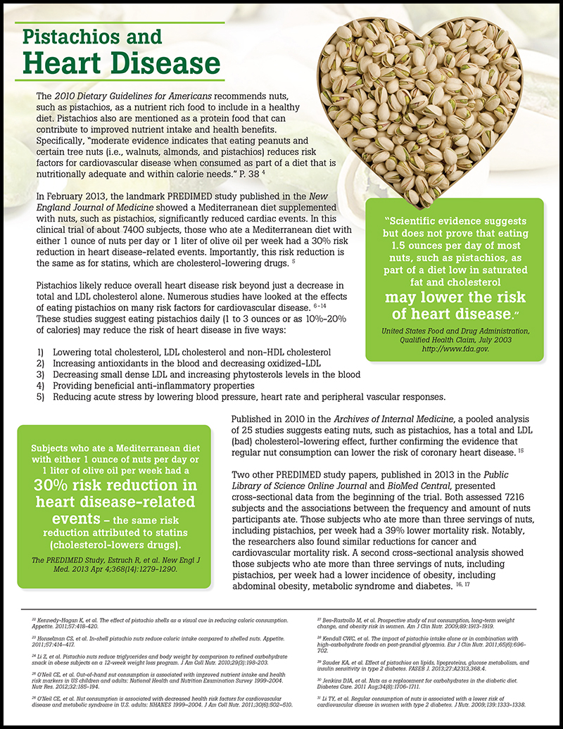 Pistachios for a Healthy Heart Fact Sheet
