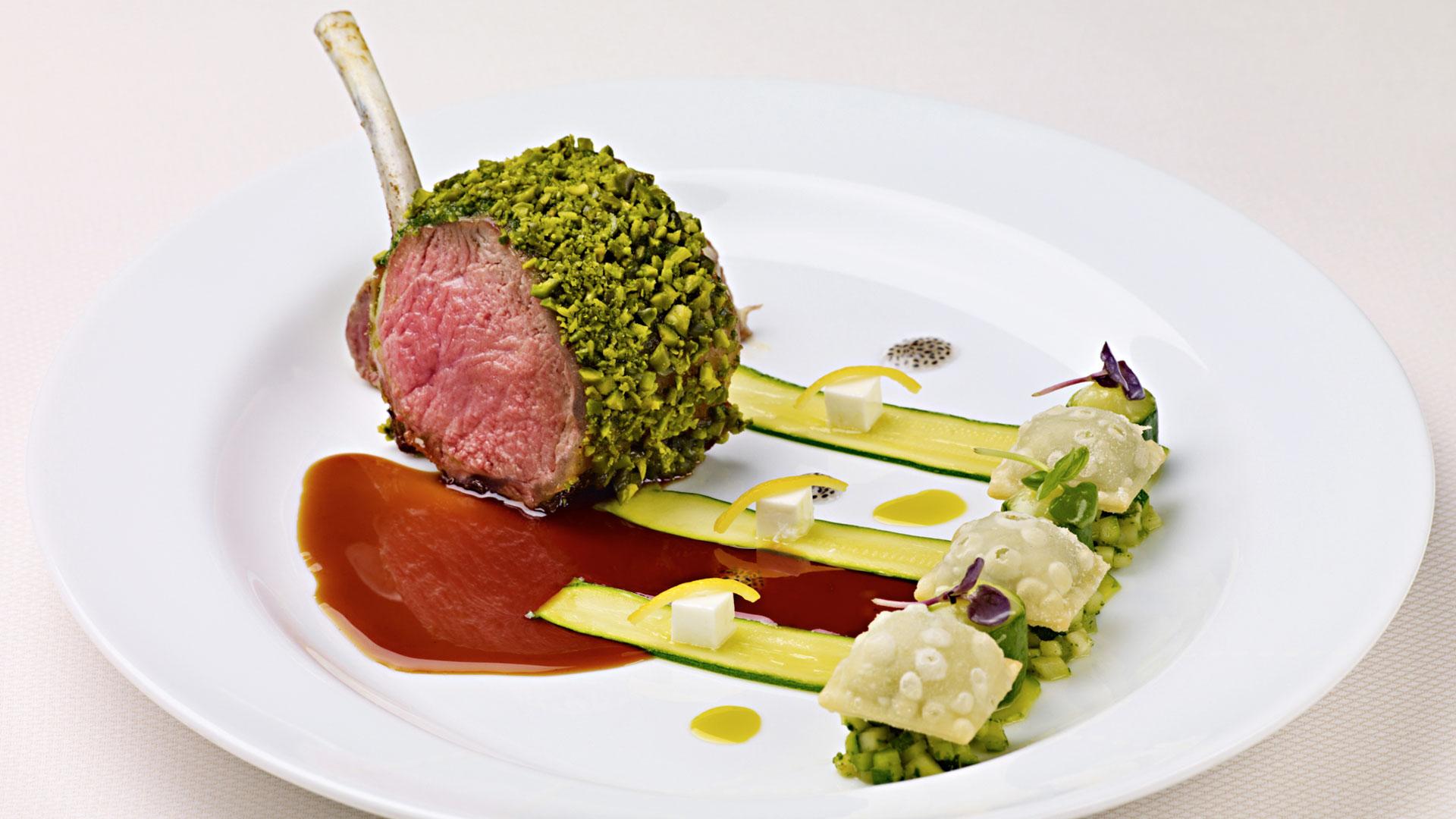 lamb chop recipes pistachio Pistachio-Crusted Lamb Chop with Minted Zucchini, Pistachio Pistou