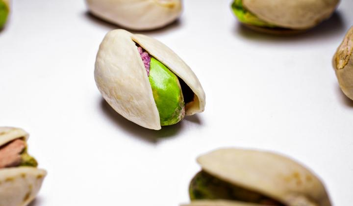 Pistachio on white