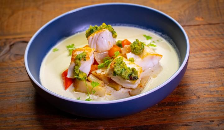 Halibut with Pistachio Soup