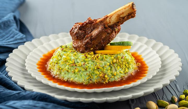 Lamb Shank with Pistachio Risotto